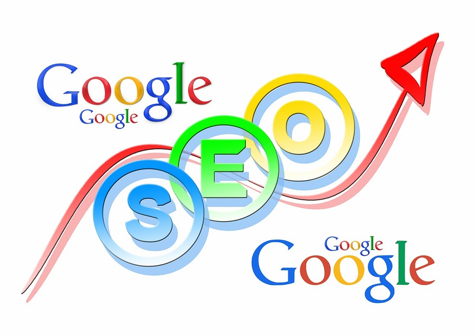 SEO letters with upward pointing arrow and Google logos