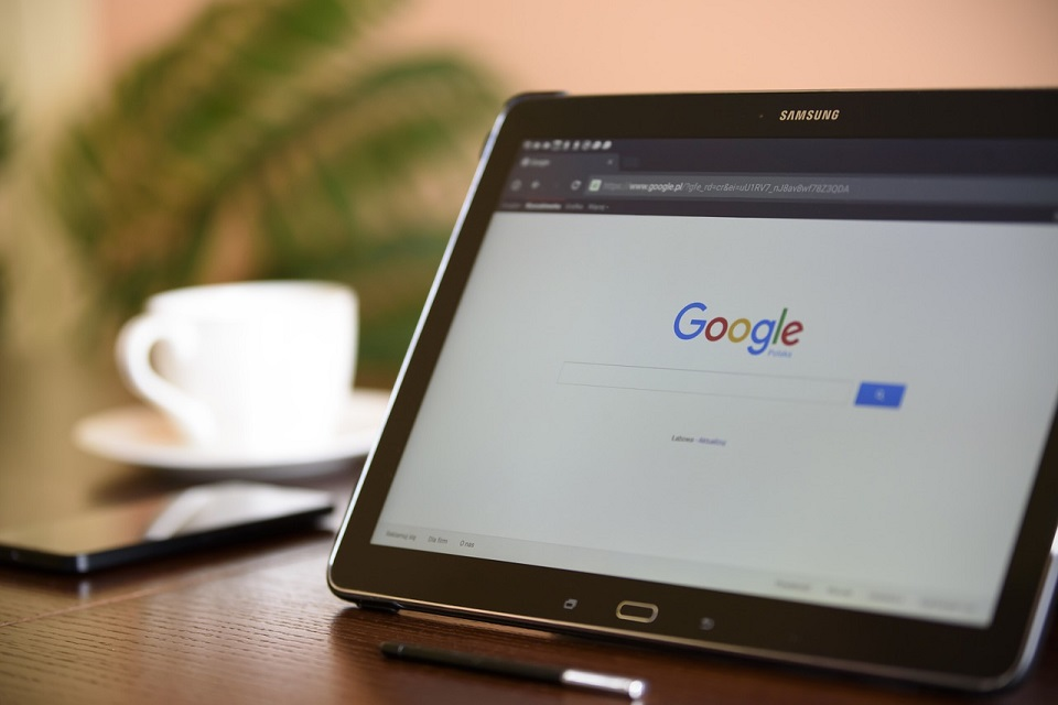 tablet showing the Google home screen