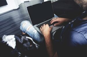 Man staring at laptop